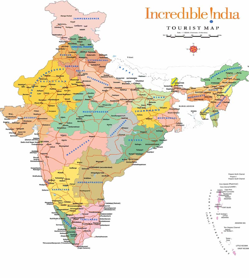 Tourist Map Of India Including Staes Cities